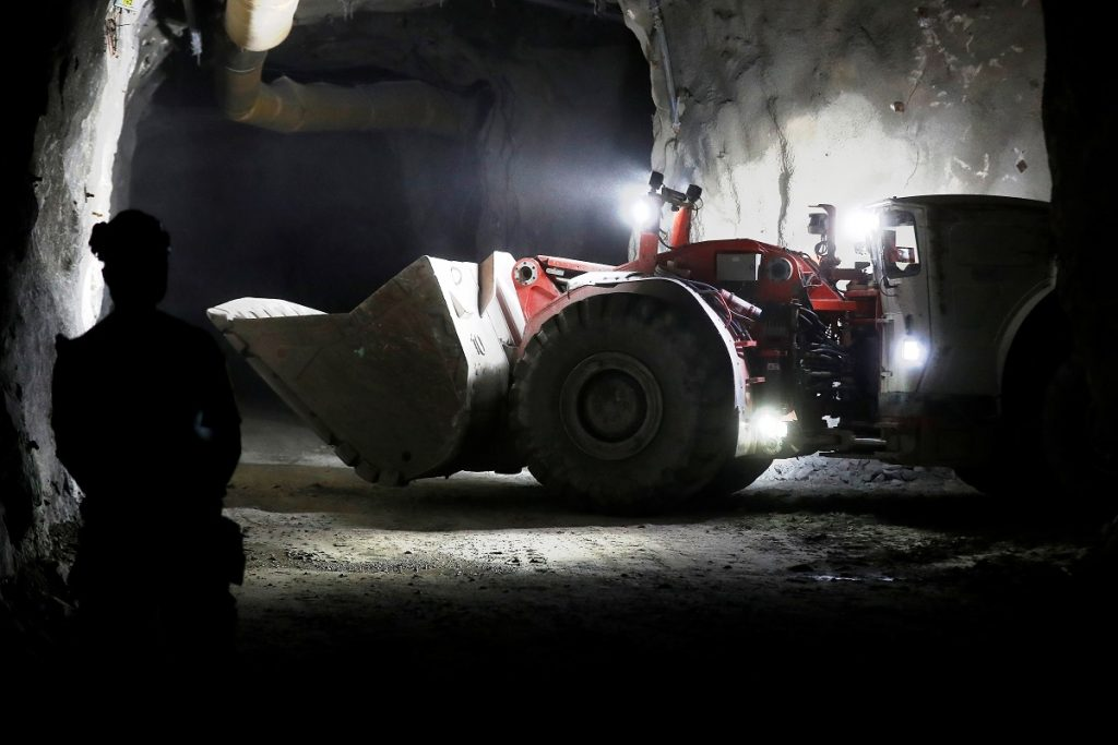 A remotely controlled autonomous loader works in the mine. (image: REUTERS/Ints Kalnins)