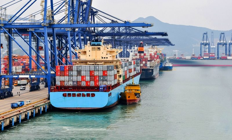 container ship in port at Port Shenzhen, China